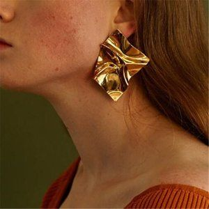 Chunky Gold Color Irregular Square Stud Earrings